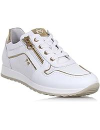 Sneakers NeroGiardini in pelle bianca e doppia chiusura tramite lacci e lampo (Taglia 39) xLhzJoMGyu