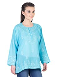 YAK International Cotton Blue Round Neck Kurti For Women - B00UAAXEH6
