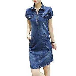 d3dd2f0fbf26f8 5 ALL Damen Sommer Beiläufige Denim V-Ausschnitt Umlegekragen Kurze Ärmel  Schlank Jeanskleid Minikleid Hemdkleid Blusenkleid Abendkleid Partykleid