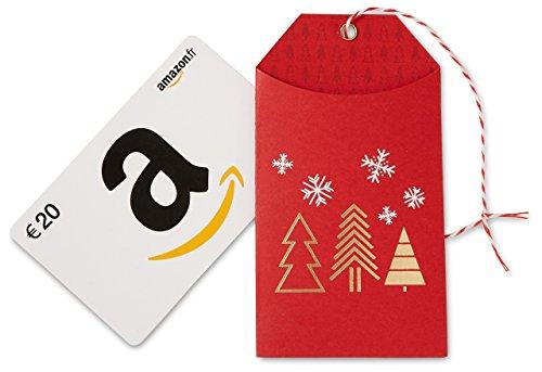 Carte cadeau Amazon.fr - €20 - Dans une petite enveloppe de Noël rouge