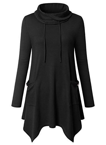 Bulotus Frauen Pullover Tunika, Damen Lang Casual Rollkragen Langarmshirt Asymmetrisch Saum Tunika Tops (Schwarz,XXL) (Top Tunika)