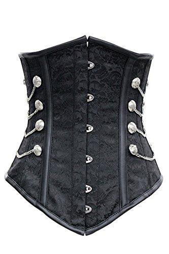 r-dessous Vintage Unterbrust Taillen Corsage schwarz Korsett Steampunk Gothic Punk Schwarz