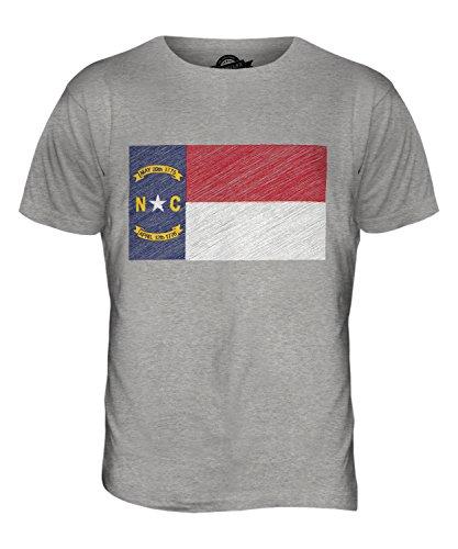 CandyMix Bundesstaat North Carolina Kritzelte Flagge Herren T Shirt Grau Meliert