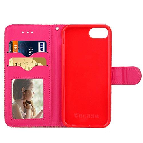 """Trumpshop Smartphone Case Coque Housse Etui de Protection pour Apple iPhone 7 4.7"""" (Abstrait Lignes) + Rouge Or Gris + Ultra Mince Smarphonetcoque Portefeuille PU Cuir Avec Fonction Support Anti-Choc  Rouge Or Gris"""
