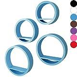 Miadomodo - Juego de estantes de pared ( en forma redonda, 4 unidades) en color azul