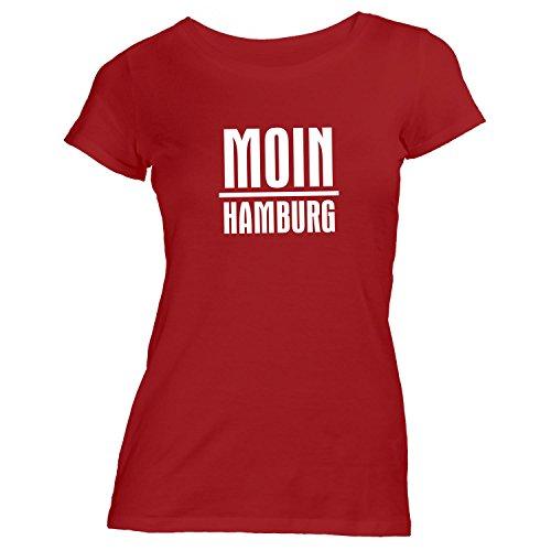 Damen T-Shirt - Moin Hamburg - Nordisch Guten Morgen Rot