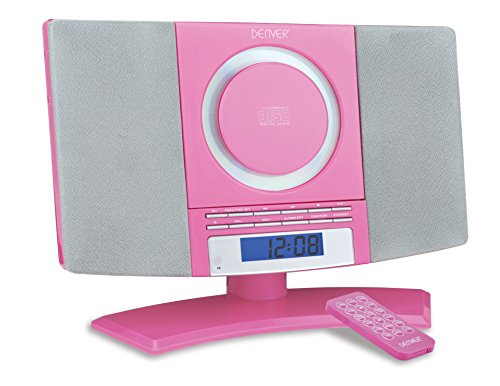 Denver Musik-Center (vertikaler CD-Player mit LCD-Display, AUX-In, Wandhalterung, Weckerradio) rosa