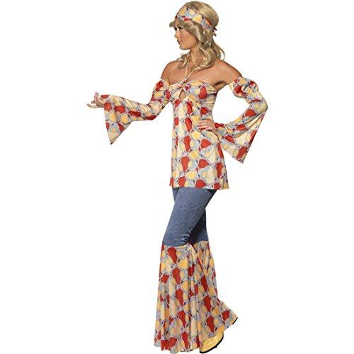 70er Jahre Damenkostüm Flower Power Outfit L 44/46 60er Jahre Vintage Hippiekostüm Hippie Kostüm Karneval Kostüme Damen Retro Party Faschingskostüm Blumenkind Mottoparty Verkleidung (Damen Blumenkind Kostüm)