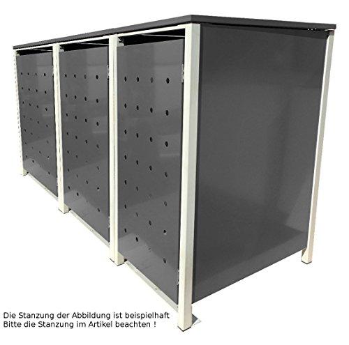 BBT@ | Hochwertige Mülltonnenbox für 3 Tonnen je 240 Liter mit Klappdeckel in Silber / Aus stabilem pulver-beschichtetem Metall / Ohne Stanzung / In verschiedenen Farben sowie mit unterschiedlichen Blech-Stanzungen erhältlich / Mülltonnenverkleidung Müllboxen Müllcontainer