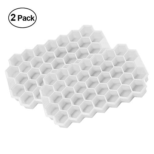 H.Yue Honeycomb Ice Cube Trays with Lids - 37 Grid Creative Eco-Friendly Ice Cube Maker(4 Colors) (White x 2)