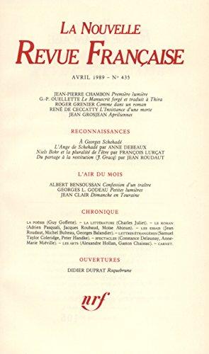 La N.R.F. numéro 435, avril 1989 par Collectif
