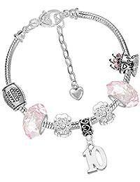 Bijoux enfants 10ème anniversaire des filles Boîte cadeau à paillettes bracelet à breloques
