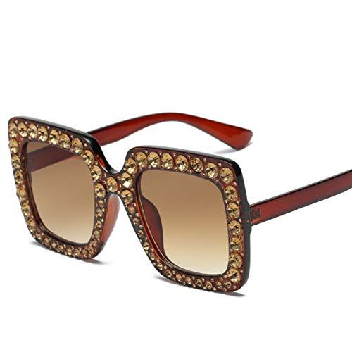 Ofliery Quadratische Sonnenbrille für Männer Frauen Übergroße Sonnenbrille für Frauen Männer Flat Top Fashion Shades (Color : F)