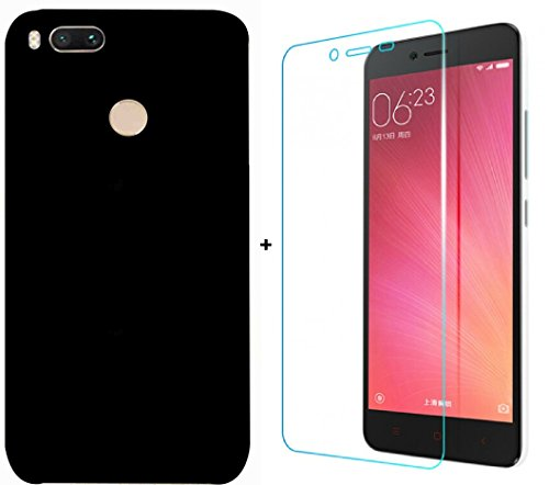 Mobom Plain Black Color Hard Back Case Cover + Tempered Glass For Xiaomi Redmi Mi A1  available at amazon for Rs.299