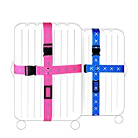 Adjustable Superior Strength Extra Long Cross Luggage Strap belt Suitcase Travel Belt Tags (Blue)