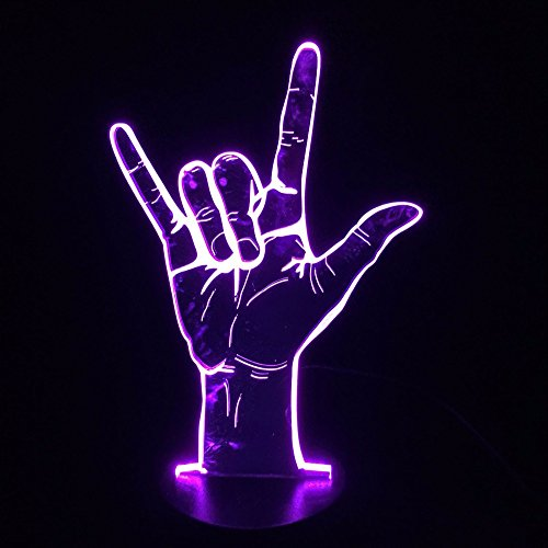 Sign Language I Love You 3D LED Light Table Night Light USB Romantic Party Holiday Valentine's Day Gift black base 7 color