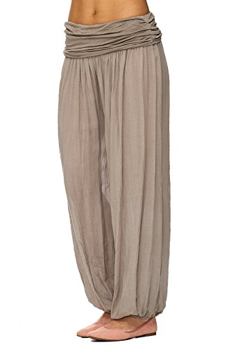 JillyMode Leichte Haremshose OneSize in viele Muster A1077 Uni Taupe