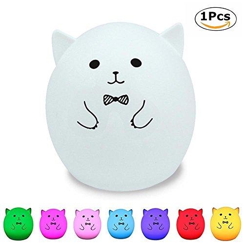 Infantil Luz Nocturna Silicón, Chickwin Encantador USB Dibujos Sensor Táctil Rechargeable para Mesita de Noche Habitación Bebé Decoración de ambiente Romántico Regalos Creativos Pascua (A)