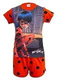 Miraculous Ladybug e Cat Noir - Pigiama Estivo Completo 2 pezzi Maglia Maglietta a Maniche Corte e Pantaloncino - Full Print - Bambina - Novità Prodotto Originale LB1260X [Rosso/Pois - 6 anni]