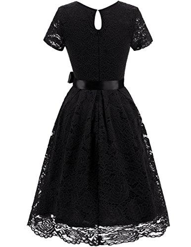 Dresstells Damen Spitzenkleid Herzform Elegant Cocktail Abendkleid Black