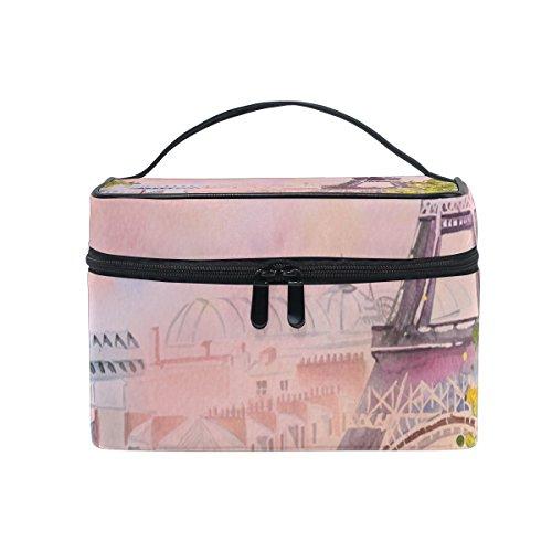isaoa Multifunktional Make Up Tasche Stadt Paris Kulturbeutel Travel Kosmetik Aufbewahrung Taschen Pinsel-Kulturbeutel Tragbare Make-up Fall Tasche für Frauen Mädchen - Paris, Tag, Tasche