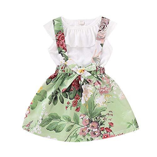 LENGIMA Sommer Outfits Sets für Kleinkind Baby Mädchen Ärmellose Shirts Solide Rüschen Tops Floral Kleine Mädchen Rock (Color : White, Size : 100) (Kleinen Mädchen White Rock)