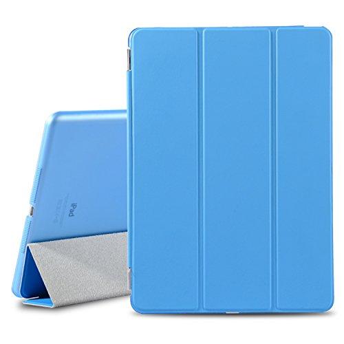 Besdata® Ultra Dünn Edles Smart Cover Schutz Hülle Case Cover Leder Tasche Etui Schutztasche + Back Case für Apple iPad Air iPad 5 - inkl. Displayschutzfolie Reinigungstuch Stift mit Multi Ständer - Unterstützt Sleep / Wake Funktion (ipad Air, Blau) - PT4102