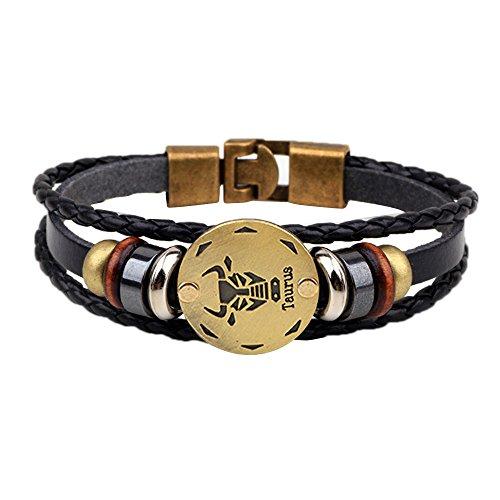 ODJOY-FAN 18g 12 Sternbilder Armband Mode Leder Armreifen Schmuck Persönlichkeit Handketten Frau Charm-Armbänder Bracelet (C,1 PC)