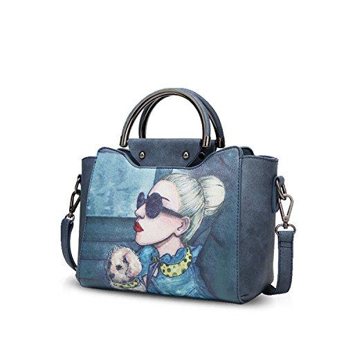 NICOLE&DORIS Elegant Stilvoll Damen Handtaschen Tote Umhängetasche Crossbody Bag Schultertaschen Henkeltaschen Klein Tasche PU Navy Blau