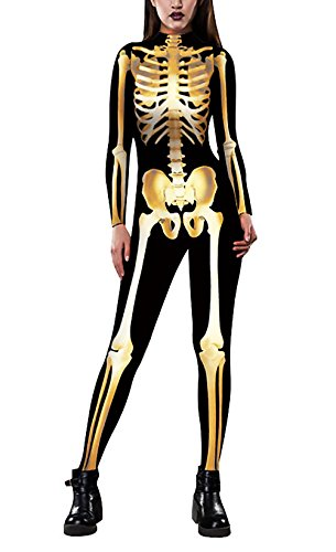 Jumpsuit Damen Happy Halloween Kostüm Menschliches Skelett Gold Muster Vintage Langarm Eng Lang Overall One Piece Jumpsuits Festlich Cosplay Costumes