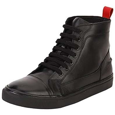 Aditi Wasan Men's Black Leather Sneakers (MCSS-5000-BLACK-44) - (10)