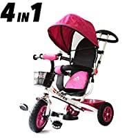 All Road Trikes Childs 4 in 1 Pink / White Trike - Push along Pedal Kids Tricycle CE Approved