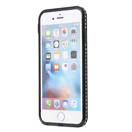 GR Für IPhone 6 & 6s-Blume gedrucktes Muster Soft Black TPU Gelschale Bumper Cover [Shock Absorbtion] Glänzende Bling Glitter Strass Rückseite Cover Case ( Color : C ) A