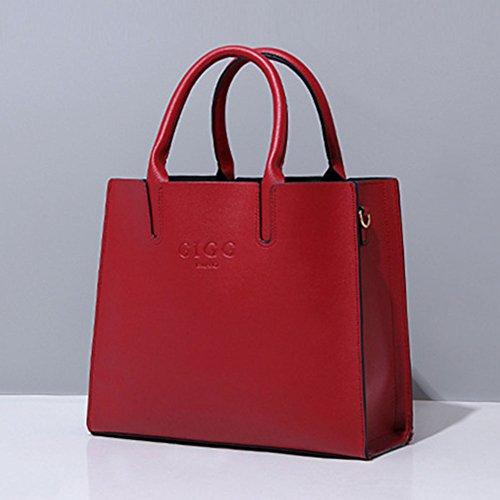 Elegante Donne PU in Pelle Borsa A Tracolla Tote Bag Grande Capacità Borse A Mano Rosso