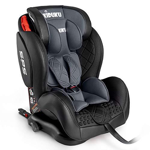 KIDUKU® Kindersitz Autokindersitz mit ISOFIX | Kinderautositz aus ECO-Leder | Autositz mitwachsend | universal | zugelassen nach ECE R44/04 | 9 kg - 36 kg 1-12 Jahre | Gruppe 1/2/3 (Grau)