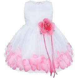 YiZYiF Baby Mädchen Kleid mit Blütenblätter Festzug Festlich Kleid Gr. 62-92 Hochzeit Party Taufkleid Kleinkind (74-80, Weiß + Rosa)