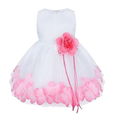 YiZYiF Vêtements Bébé Fille Robe de Baptême Fleur Pétales Volants 3-24 Mois (3-6 mois, Rose²)