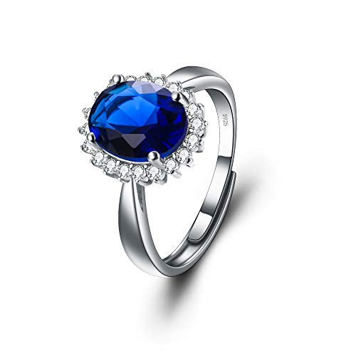 EVER FAITH Damen Ring 925 Sterling Silber Saphir Farbe Blau Oval CZ Braut Halo Engagement verstellbarer Ring