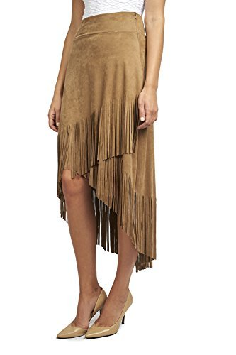Joseph Ribkoff Faux Suede Fringed Skirt