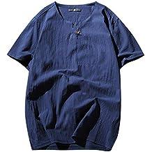 Camiseta de Manga Corta para Hombre,Verano Nuevo Sabana de Algodon Manga Corta Parte Superior