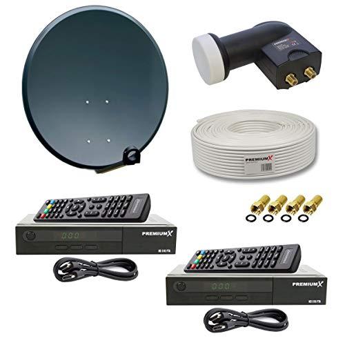 PremiumX Digitale HD SAT Anlage für 2 Teilnehmer 60cm Schüssel mit Twin LNB 0,1dB + 25m Koax Kabel + 2X Digital HDTV DVB-S2 Receiver inkl. HDMI-Kabel + 4X F-Stecker