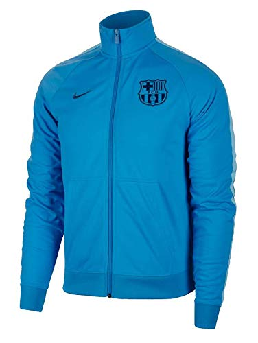 Official 2018 2019 FC Barcelona Core Trainer Jacket manufactured by Nike. This equator Equator Equator Blue Barcelona jacket is available to buy in adult sizes S, M, L, XL, XXL and is part of the mens FCB 2018 2019 training range.Product Code 892532-...