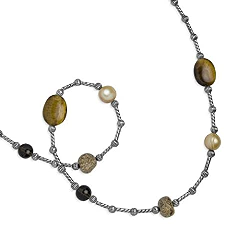 Carolyn Pollack Sterling Silver Smoky Quartz Freshwater Cultured Pearls Tiger's Eye Picture Jasper Beaded 22.75 in. Necklace