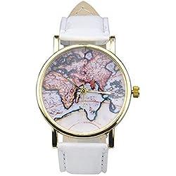 WANGSCANIS® Unisex Men Women Fashion Analog Display Digital Quartz Birthday Gift Faux Leather Straps World Map Pattern Wrist Watch White