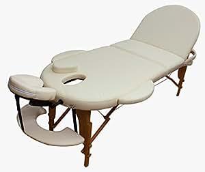 Table de Massage Pro Luxe, pliante Confort, ovale, beige
