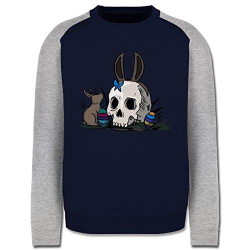 Ostern - Totenschädel Ostern - Herren Baseball Pullover Navy Blau/Grau Meliert