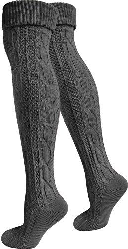 normani 2 Paar Trachtenkniestrümpfe Kniebundhosen-Strümpfe mit Leinen auch in Übergröße Farbe Anthrazit Größe 39/42