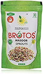 BROTOS Masoor Bean Sprouts with Masala Sachet Inside, 80g(After rehdration it gives 250 gm)