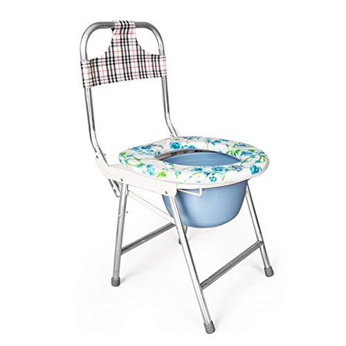 SXRL Klappbar Toilettenstuhl Nachtstuhl, Pflege Duschstuhl Abnehmbarer Eimer Für Ältere Menschen Mit Eingeschränkter Mobilität