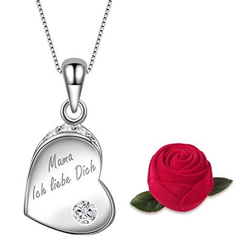 Dawanza-Geschenk für mama-Halskette für Frauen 925 Sterling Silber-Gravur Mama Ich liebe dich -Herz Anhänger mit Zirkonia …
